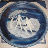 1984 Land Of The Phaeacians By Alan Brunettin - Lapis-Blue Incolay Cameo Stone Plate