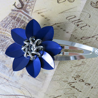Blue Scale Chainmaille Flower Barrette - Blue Flower Clip