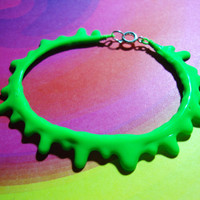 Neon Dripping Slime Bracelet - Fluorescent Lime Green Oozing Goo