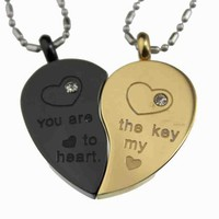 Lovers /Couple Gold & Black Tone Split Heart Pendant Set, Stainless Steel:Amazon:Jewelry