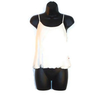 Chic White Summer Tank Top Side Slit Openings Button Décor Womens Clothing Medium