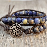 Blue double wrap bracelet Chunky beaded leather by SinonaDesign