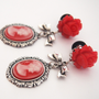 Glamsquared  Red Lady Cameo Dangle Plugs