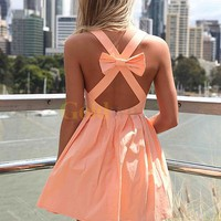 [US$140.99] Light Orange Taffeta Sleeveless Open Cross Bow Back Mini Dress