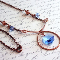 Copper and Light Sapphire Crystal Necklace