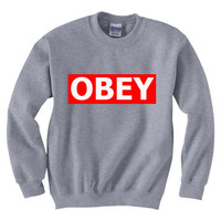 Obey Supreme Red Custom Logo Sweatshirt Crewneck Unisex (Size S &amp; M) OB03