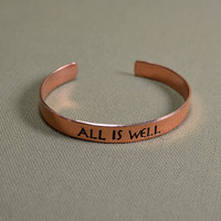 All is well handmade copper bracelet