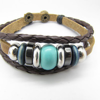 10% OFF Adjustable Couple Cuff bracelets made of Brown Leather Ropes and Color Wooden Beads mens bracelet boys bracelet girls bracelet 631S