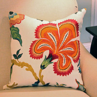 Red Schumacher Designer Pillow Cover in Hothouse Flower Fabric