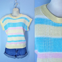 Slouchy Sweater / 80s Candy Stripe Sweater / Sweetheart Sweater