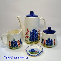 Modern Styling Ceramic Earthenware Tea Set Bluebonnet Wildflowers
