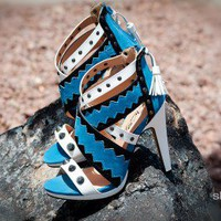Wild Rose Trudie-13 Criss Cross Studded Open Toe Heel (Lt Blue) - Shoes 4 U Las Vegas