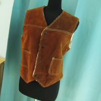 vintage 1970s Silton soft suede sherpa lined western vest. shearling lined suede vest. brown leather vest. unisex M to L.