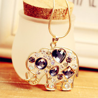 Sparkling Rhinestone Elephant Necklace