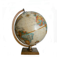 Vintage World Globe Replogle 12 Inch World Classic Series Raised Relief Sepia Tone and Wood Base