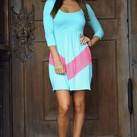 Little Taste Of Chevron Dress: Aqua/Coral | Hope's
