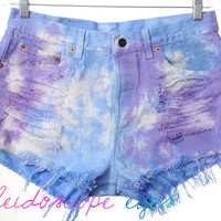 Vintage Levis 501 Pastel TIE DYE Destroyed High Waist Denim Cut Off Shorts L