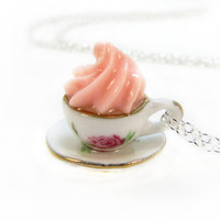 Miniature Teacup And Saucer Necklace With Pink Whipped Cream