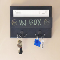 Mail organizer blackboard mini one pocket wall mounted with key hooks