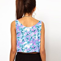 Motel Cami Crop Top In Marbled Print at asos.com