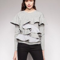 Ruffled sweat top