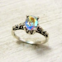 Rainbow Topaz Victorian Ring, Fancy Sterling Silver Gemstone Ring