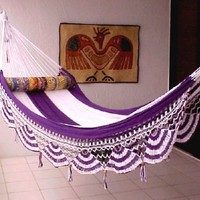 Nicamaka Couples Hammocks - Purple/White 5 Stripe:Amazon:Patio, Lawn & Garden