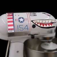 Flying Tiger Shark Plane Decal Sticker Mixer cover Kit red, white, navy blue, and black, designed to fit all KitchenAid stand mixers, including Pro 600, Artisan, Ultra Power, 4, 5, 6 qt quart mixers, without accessory interference.