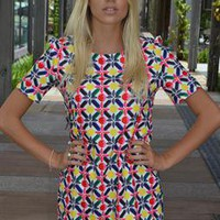 Multi Color Print Mini Short Sleeve Dress