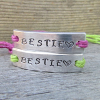 Bracelets SET of 2 BESTIE  Hand Stamped Tie On Hemp Cord Couples Friendship BFF Best Friends Gift