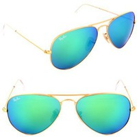 Ray-Ban RB 3025 112/19 Metal Aviator Gold / Green Blue Mirror:Amazon:Clothing