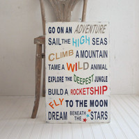 Family Rules Style Boys Girls Adventure Wood Sign. Playroom. Multi-color. Sail, Climb, Fly, Dream Beneath the Stars