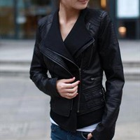 Faux leather short style jacket double collar black from Oriency