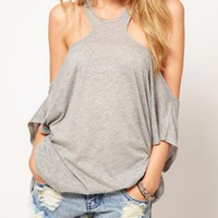 Strapless Word Back Gray T-shirt$35