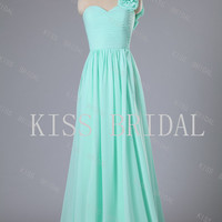 A-line One -shoulder  Sleeveless Floor-length Chiffon Flowers Prom Dress New arrival 2013