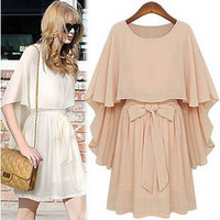 Fake two shawls cloak  Bowknot dress