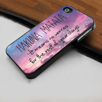 Hakuna Matata it Means No Worries Quotes - Hard Case Print for iPhone 4 / 4s case - iPhone 5 case - Black or White (Option Please)