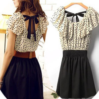 dress with polla dot belt bow