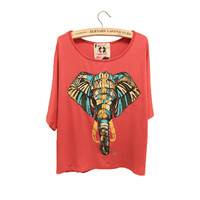 FloralGarden  Elephant Batwing Sleeve Loose Tshirt