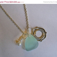 SALE Aqua sea glass necklace with life ring and pearl. Beach glass necklace.