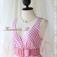 Princess Luella Summer Dress - Sweet Cutie Spring Summer Dress Checkered Sundress Princess Luella Collection Pink/Lilac Color Party Dress