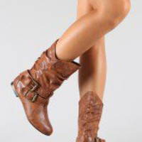 Vickie-16 Buckle Slouchy Mid-Calf Boot