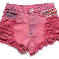 Pink shredded and studded high waist shorts by deathdiscolovesyou