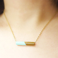 Mint Necklace. Upcycled Necklace. Geometric Necklace. Mint Green. Industrial Jewelry. Layering Necklace.