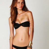 Tyler Rose Swimwear Black Gold Lace Ruched Bottoms at Free People Clothing Boutique