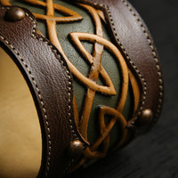 Ethos Custom Brands - Celtic Dara Cuffs - Hand-crafted Leather Products