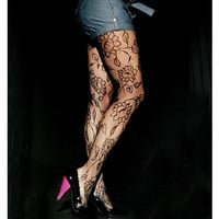 Angelina Large Floral Patterned Fishnet Pantyhose, #5277