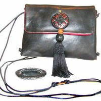 Handmade Shoulder Bag Purse - Fusion Hippo Tassel Cinnabar | cosmichippodesigns - Bags & Purses on ArtFire