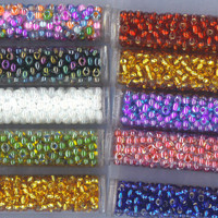 CZECH Glass Beads Seed 6/0 Lot 10 Tubes Vials Multi Colors 17 gm