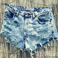 Acid Wash High Waisted Shorts (LARGE)
